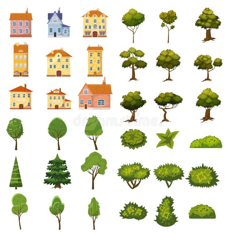 De reeks gebouwen, de struiken en de bomen van landschapselementen voor tuin ontwerpen, parkeren, spelen en toepassingen Vector vector illustratie