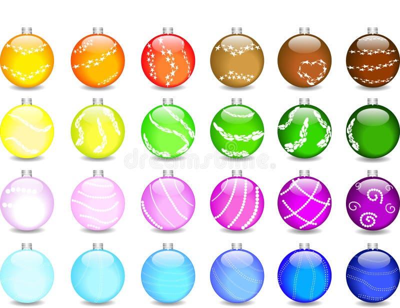 De reeks gekleurde ballen en de flikkeringen van Kerstmis stock illustratie