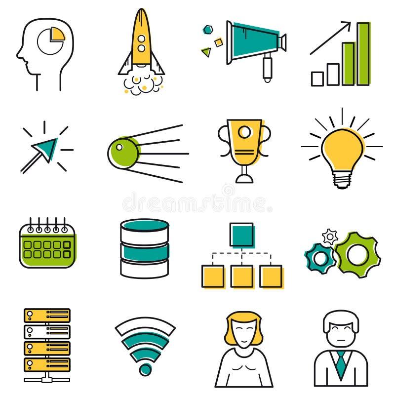 De reeks gekleurde pictogrammen van de server en startlijn vector illustratie