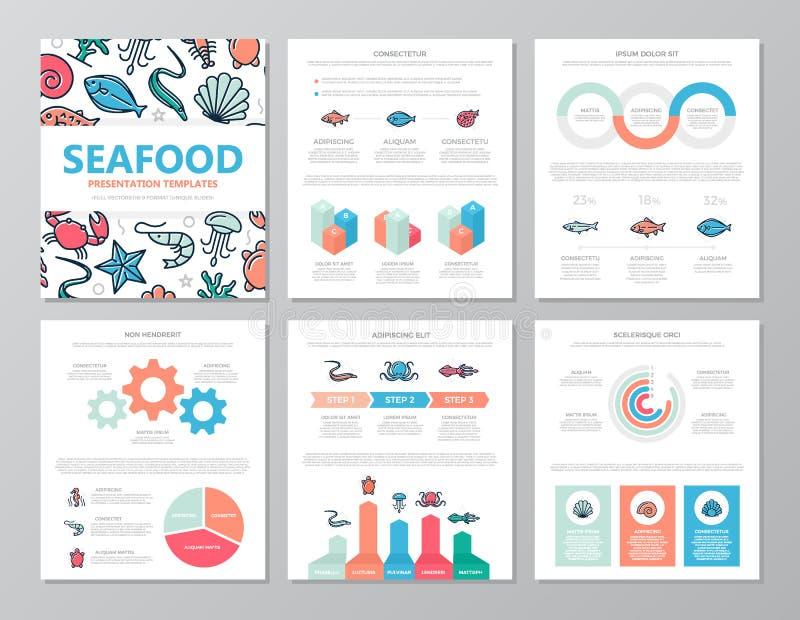 De reeks gekleurde vissen en overzees voedselelementen voor multifunctioneel a4 presentatiemalplaatje glijdt met grafieken en gra royalty-vrije illustratie