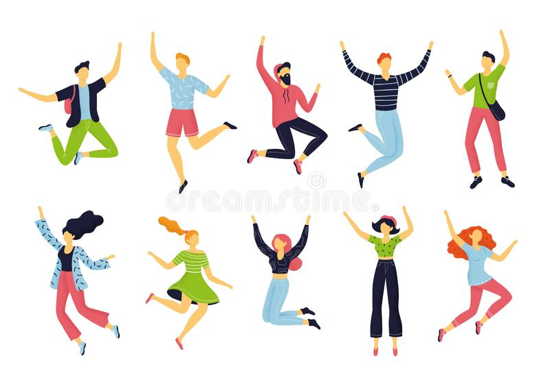 De reeks gelukkige springende mensen in verschillend stelt Hand-drawn inzameling van beeldverhaalvrouwen en mannen royalty-vrije illustratie