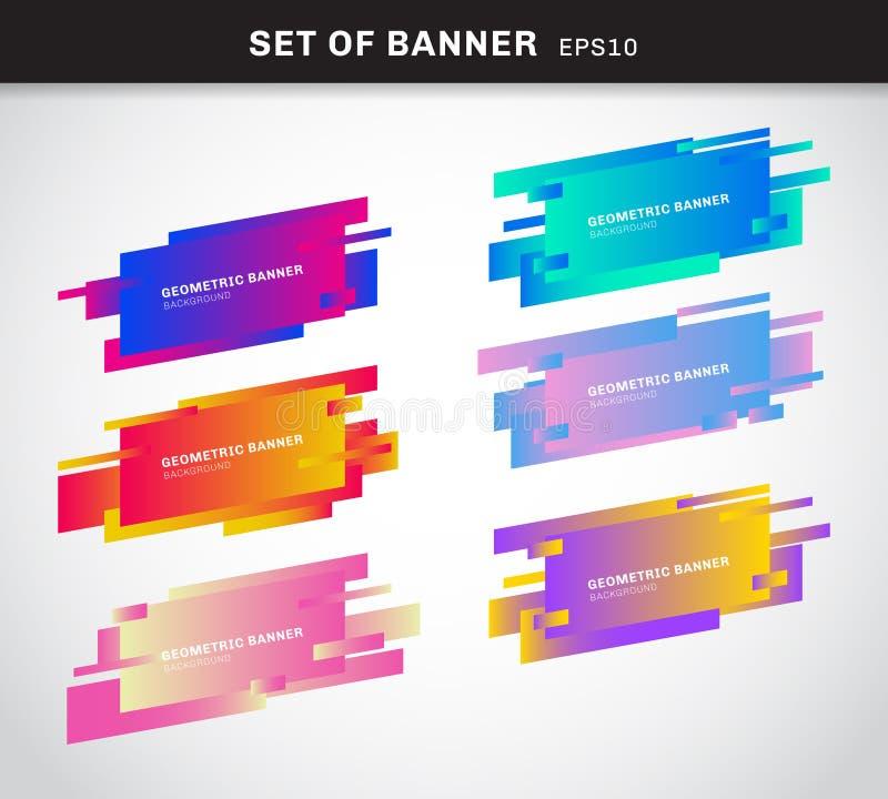 De reeks geometrische banners of de kleuren plastic kaarten van de etiket levendige gradiënt maakte in materiële ontwerpstijl U k vector illustratie