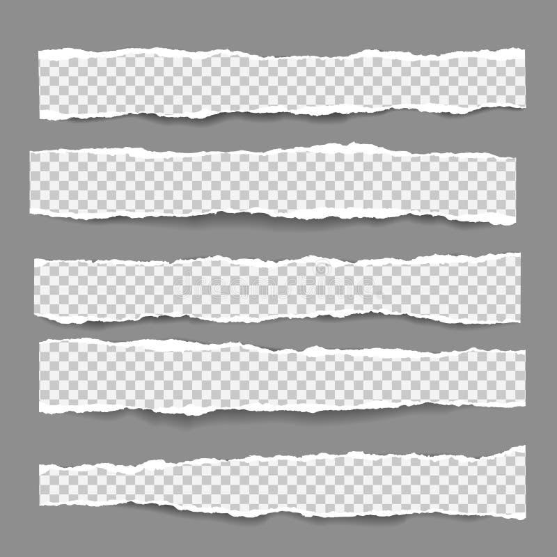 De reeks gescheurde, gescheurde, geregelde document stroken met zachte schaduw is op donkere grijze achtergrond Vectormalplaatjei vector illustratie