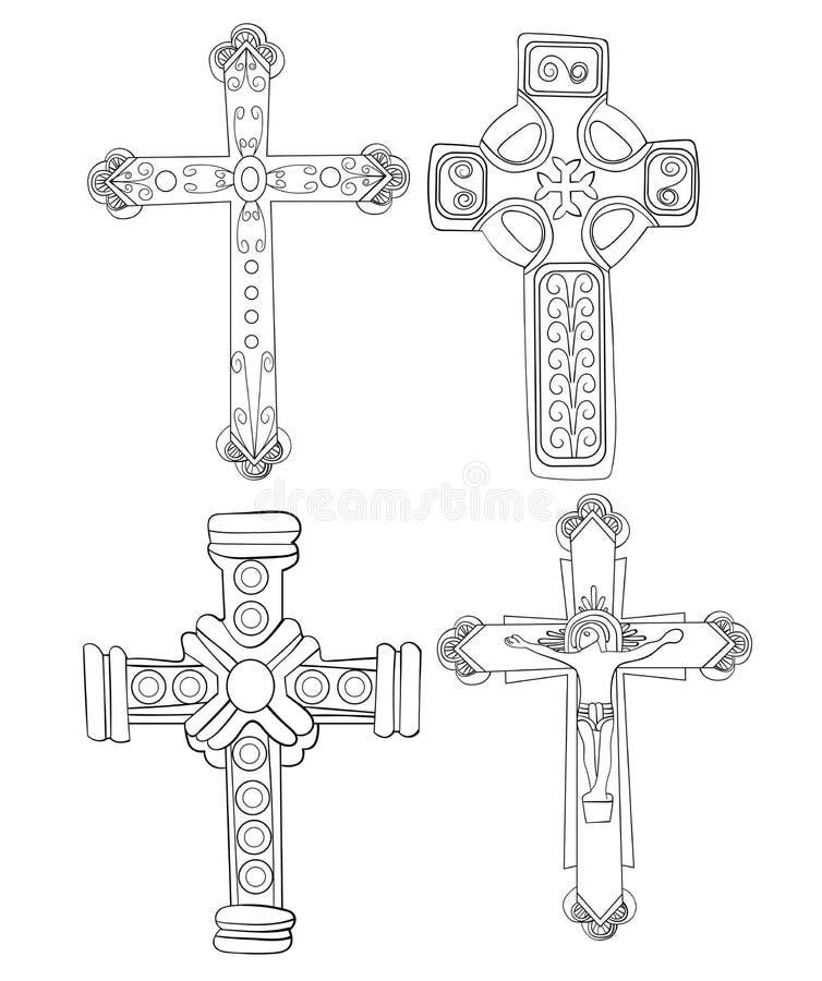 De reeks Godsdienstige Kruisenkrabbels overhandigt Getrokken Lineart-Illustratie Christian Jesus stock foto's