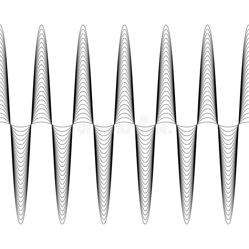 De reeks golven met vergrote omvang, de vector van stijgende omvanggolf is naadloos, criss dwars horizontale curvy lijnen vector illustratie