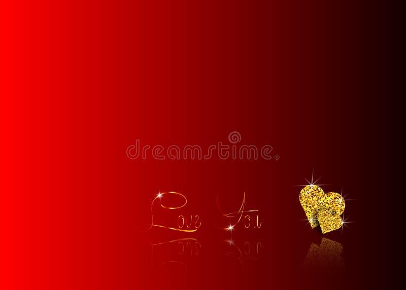 De reeks Gouden harten van schitterend mozaïek, de vorm van een hart is van gouden schittert en tekst met gouden krullen: liefde  royalty-vrije illustratie