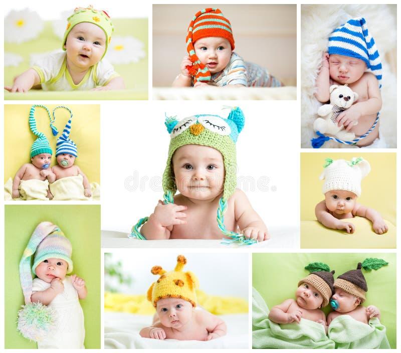 De reeks grappige babys of kinderen weared in hoeden royalty-vrije stock foto's