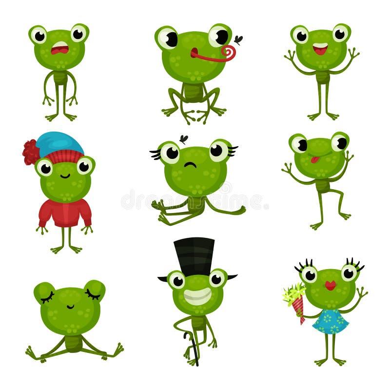 De reeks groene kikkers in verschillend stelt en met diverse emoties Grappige vermenselijkte padden Kleurrijke vlakke vectorpicto royalty-vrije illustratie