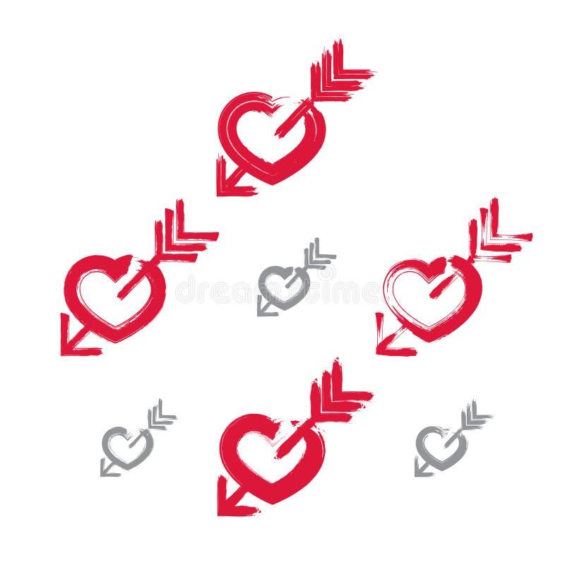 De reeks hand-drawn rode pictogrammen van het liefdehart, inzameling van borstel trekt stock illustratie