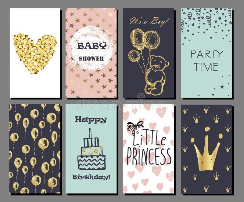 De reeks hand getrokken leuke kaarten met gouden Confettien schittert en folie stock illustratie