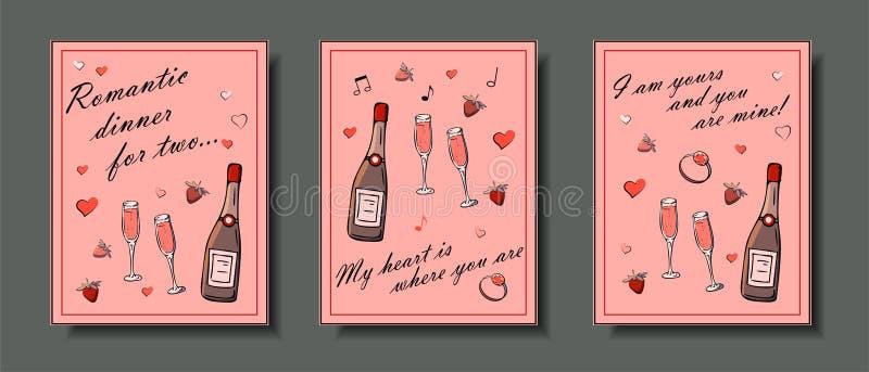 De reeks hand getrokken malplaatjes vormt kaarten met meisjesdingen, romantische voorwerpen en uitdrukkingen Prentbriefkaaren met vector illustratie