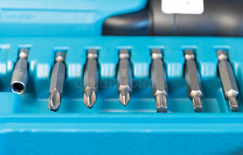 De reeks hoofden voor schroevedraaier, sluit omhoog stock foto's