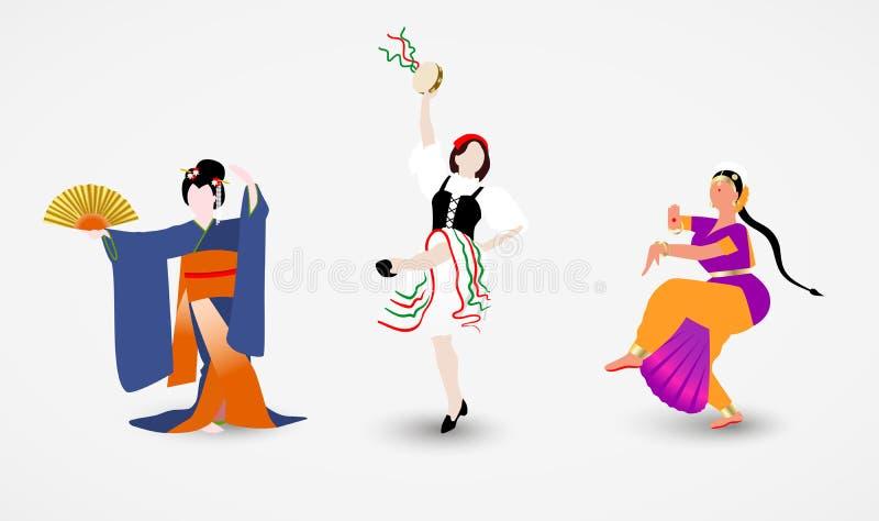 De reeks illustraties van vrouwen van verschillende rassen kleedde in nationale kostuums die de volksdansen van hun landen dansen vector illustratie