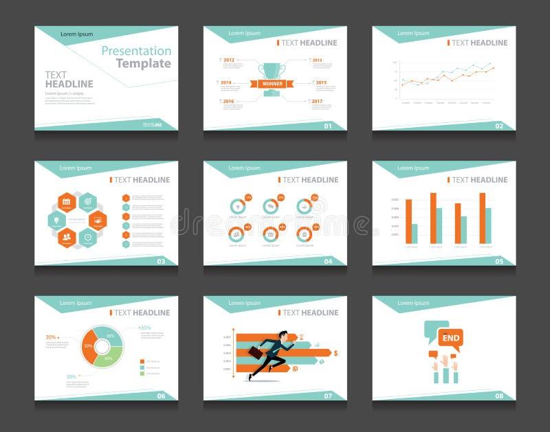 De reeks Infographic van het bedrijfspresentatiemalplaatje Power Point-de achtergronden van het malplaatjeontwerp royalty-vrije illustratie