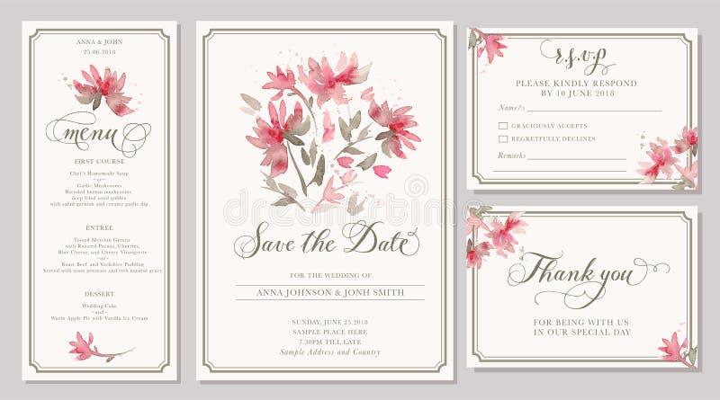 De reeks de kaartmalplaatjes van de huwelijksuitnodiging met waterverf stileert royalty-vrije illustratie