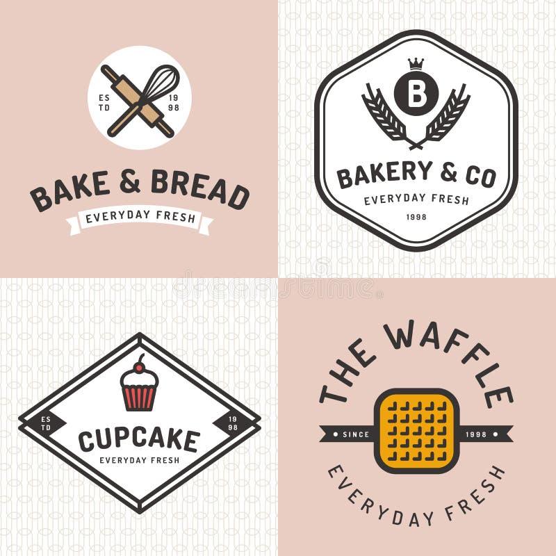 De reeks kentekens, de banner, de etiketten, de emblemen, de pictogrammen, de voorwerpen en de elementen voor bakkerij winkelen m vector illustratie