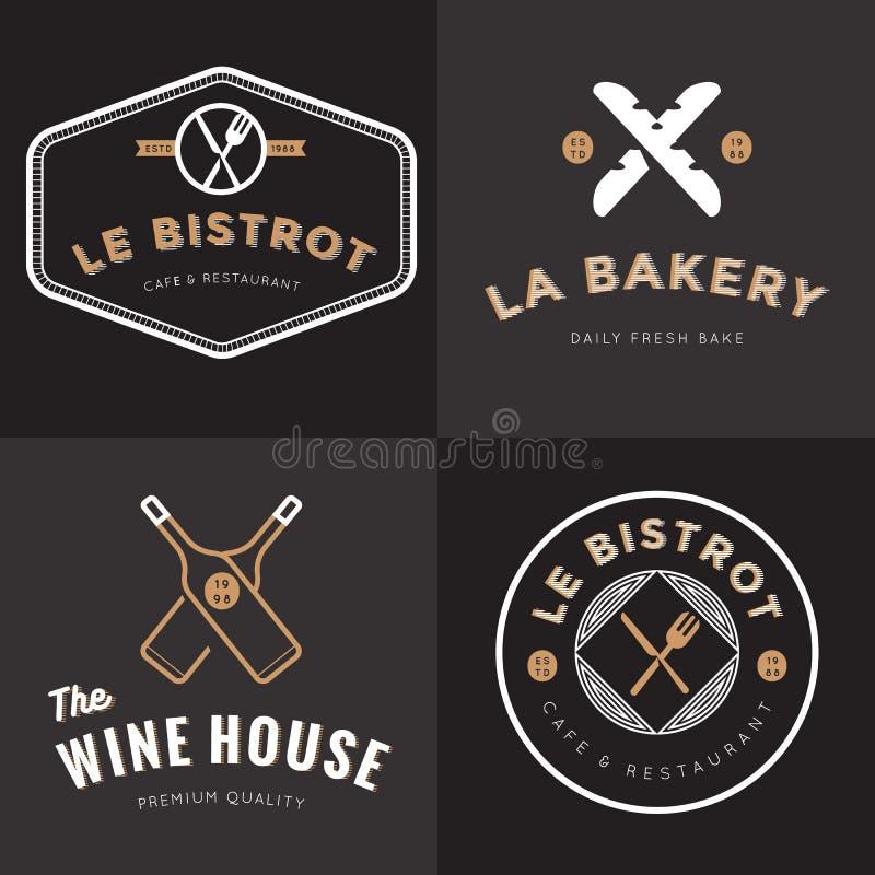 De reeks kentekens, de banner, de etiketten en de emblemen voor Frans voedselrestaurant, voedsel winkelen, bakkerij, wijn en cate royalty-vrije illustratie
