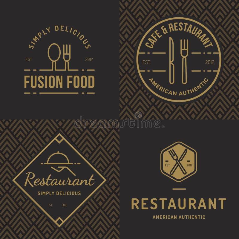 De reeks kentekens, de banner, de etiketten en de emblemen voor voedselrestaurant, voedsel winkelen en catering met naadloos patr stock illustratie