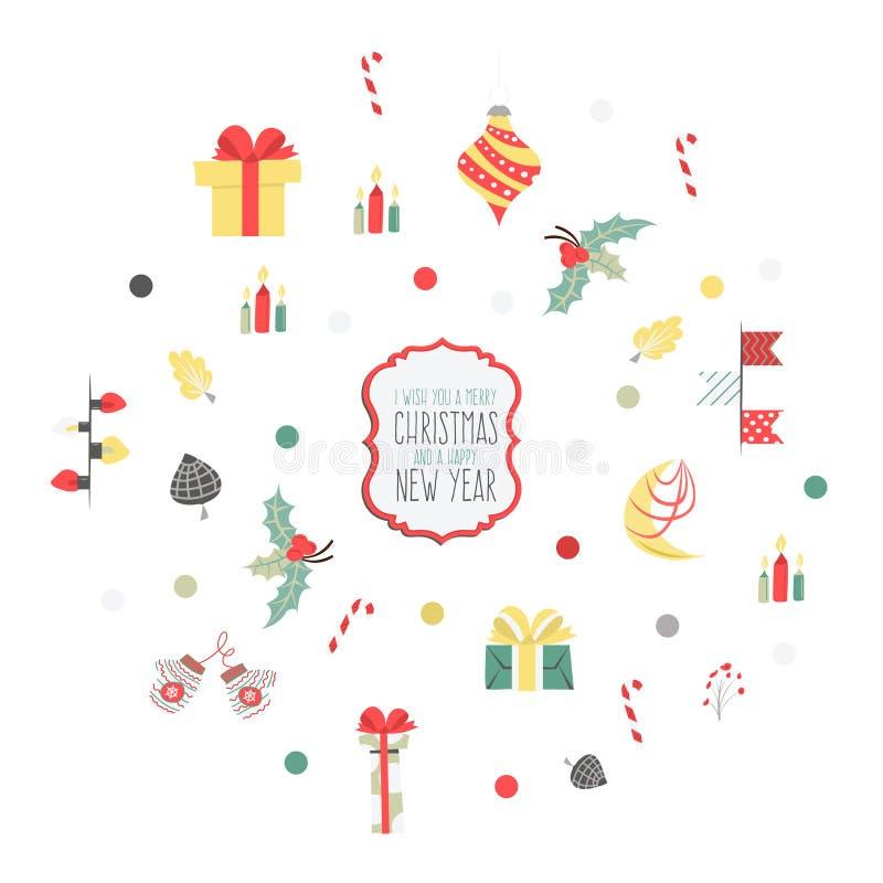 De reeks Kerstmis grafische elementen op een witte achtergrond, verzamelt royalty-vrije illustratie