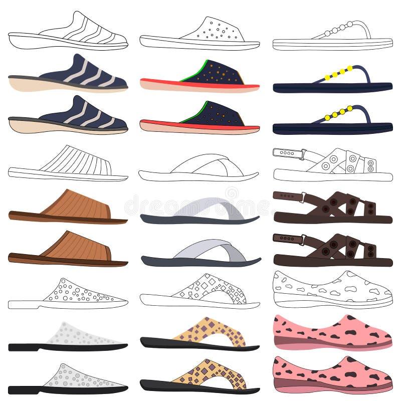 De reeks kleurde en schetst transparante pantoffels voor mannen en vrouwen op witte achtergrond stock foto