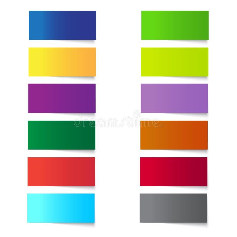 De reeks kleurendocument stickers voor herinnert zich Vector stock illustratie