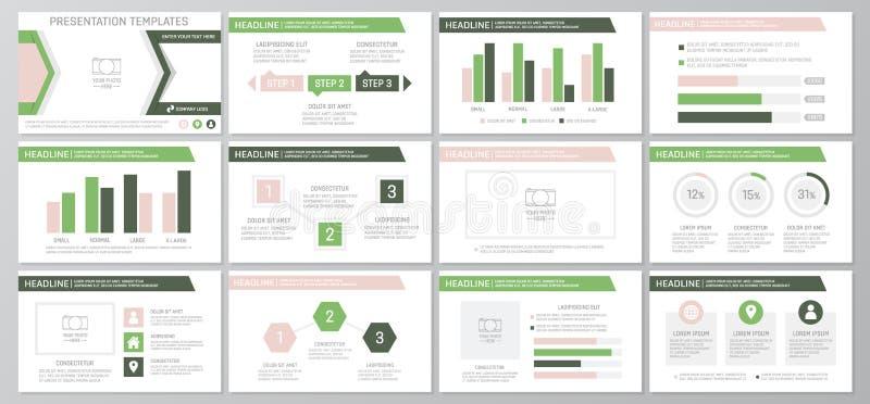 De reeks kleurenelementen voor multifunctioneel presentatiemalplaatje glijdt met grafieken en grafieken Pamflet, collectief rappo royalty-vrije illustratie