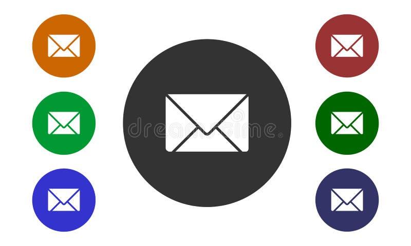 De reeks kleurrijke cirkeldiepictogrammen post op websites en forums en in e-winkel knoop en envelopbeeld op witte achtergrond wo royalty-vrije illustratie