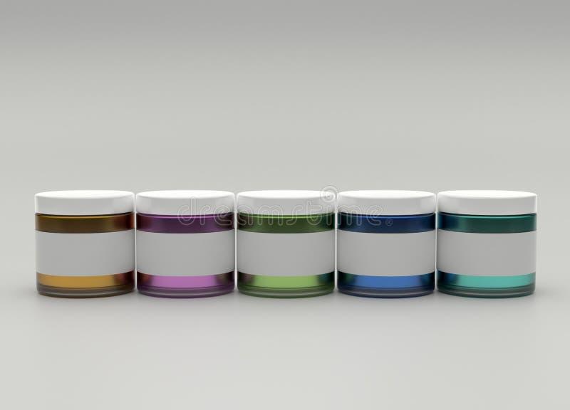 De reeks kleurrijke 3d kruiken van verf, geeft met exemplaar ruimte en lege etiketten terug stock illustratie