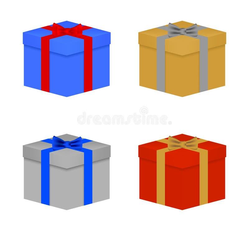 De reeks kleurrijke Kerstmisgiften bond blauwe, rode, gouden en zilveren lint en vlinderdas Gesloten verjaardagsgift met een deks vector illustratie