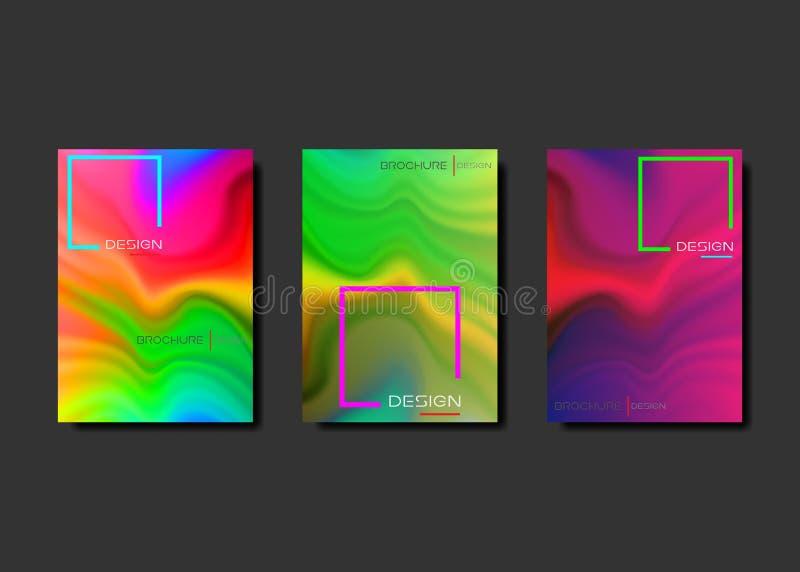 De reeks koele brochure van de gradiënt vloeibare affiche Vloeibaar kleurenontwerp als achtergrond Originele Presentatiemalplaatj royalty-vrije illustratie