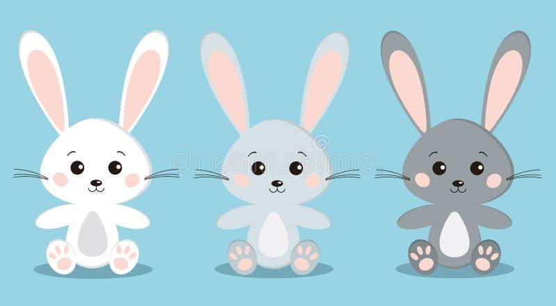 De reeks leuke geïsoleerde witte en grijze konijnen in zitting stelt met afluisteraar stock illustratie