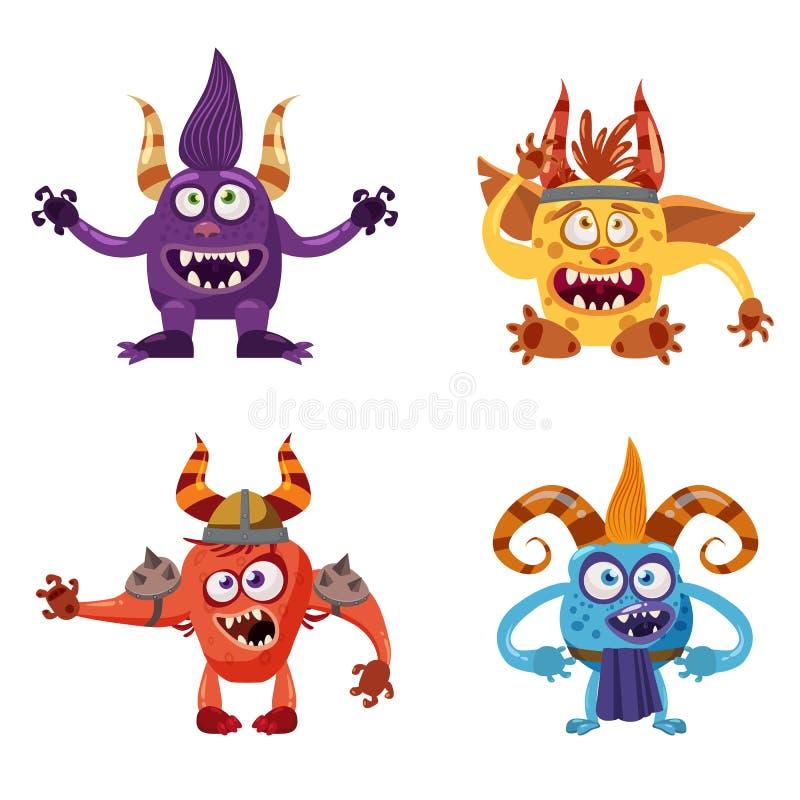 De reeks leuke grappige karakters vist, kobold, yeti, IMP, met verschillende emoties, beeldverhaalstijl, voor boeken, reclame met vector illustratie