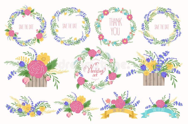 De reeks leuke retro bloemen schikte de V Huwelijks vastgestelde bloemen, kronen, linten stock illustratie