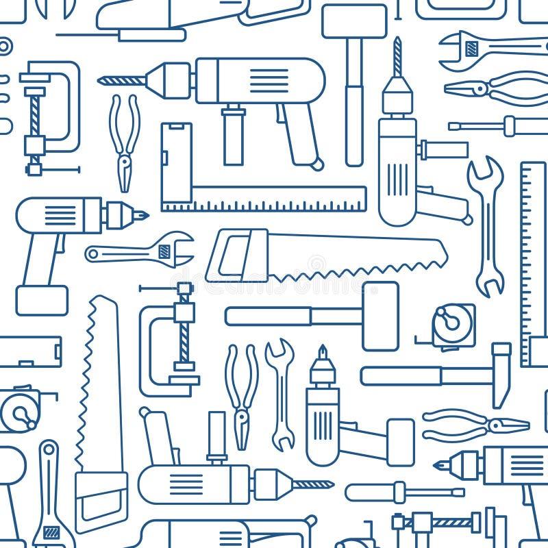 De reeks lineair naadloos patroon van het hardwarehulpmiddel Vectortimmerman van werkende hulpmiddelen royalty-vrije illustratie