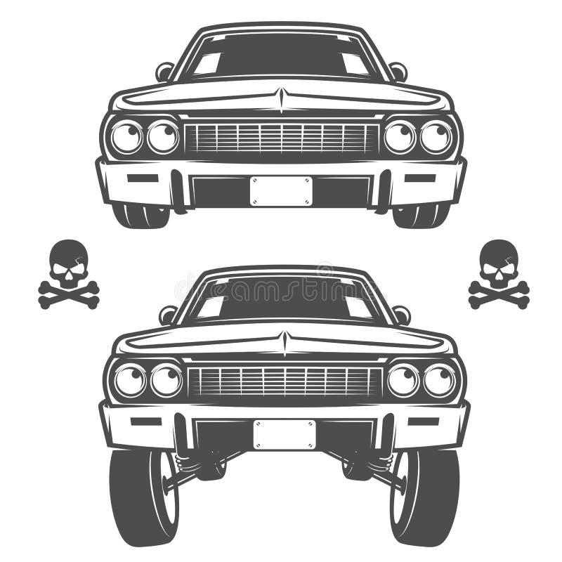 De reeks lowriderauto's, lowrider, lowrider bewerkt, lowrider voor emblemen en ontwerp machinaal royalty-vrije illustratie