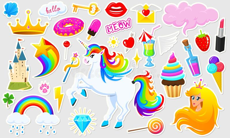 De reeks meisjes vormt leuke flarden, pretstickers, kentekens en spelden Inzamelings verschillende elementen Prinses en eenhoorn royalty-vrije illustratie