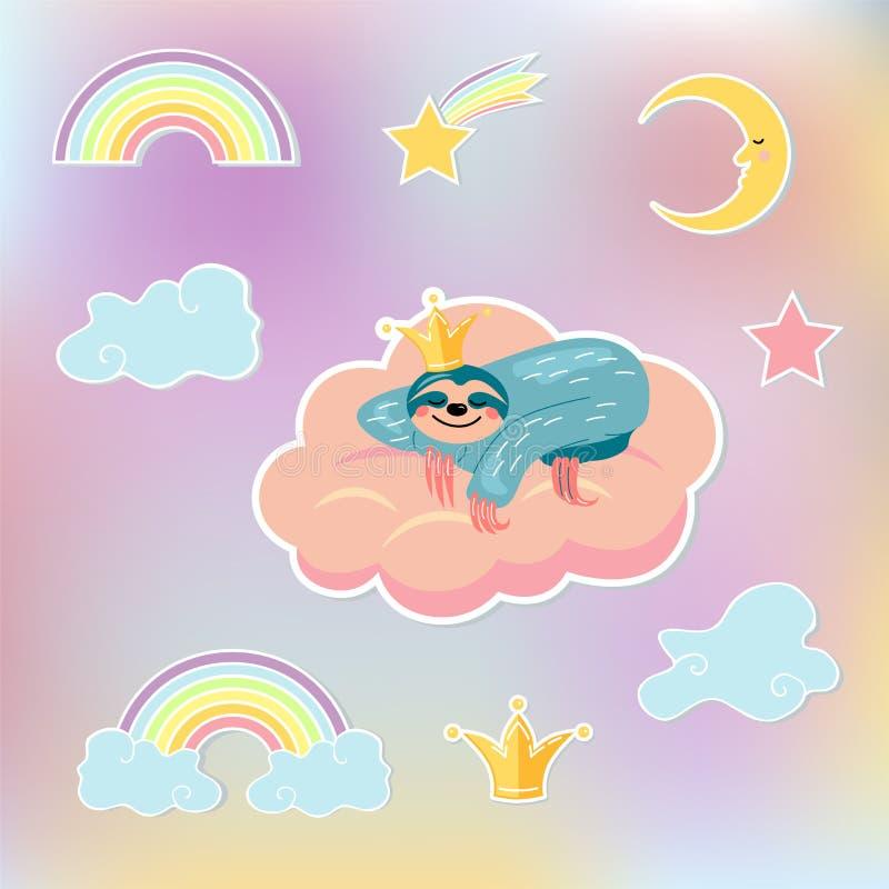 De reeks met luiaard draagt slaap in roze wolk, kroon, wolken, maan, ster en regenboog vector illustratie
