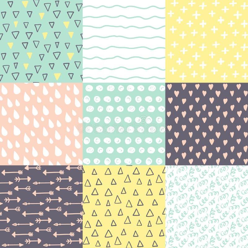 De reeks met 9 overhandigt getrokken krabbel kleurt helder naadloze patronen stock illustratie
