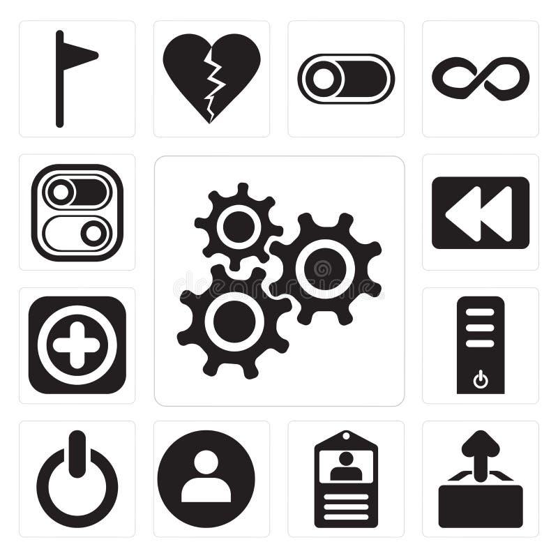 De reeks Montages, uploadt, Identiteitskaart-kaart, Gebruiker, Schakelaar, Server, toevoegt, Rew stock illustratie