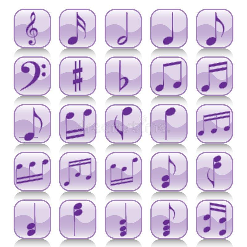De reeks-muziek van het pictogram nota's stock illustratie