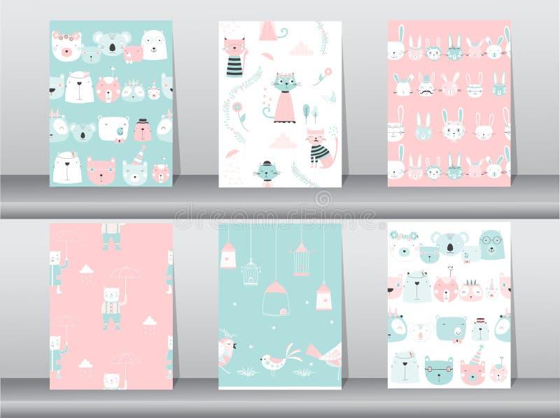 De reeks naadloze patronen met grappige beeldverhaaldieren, draagt, kat, vogel, Vectorillustraties vector illustratie