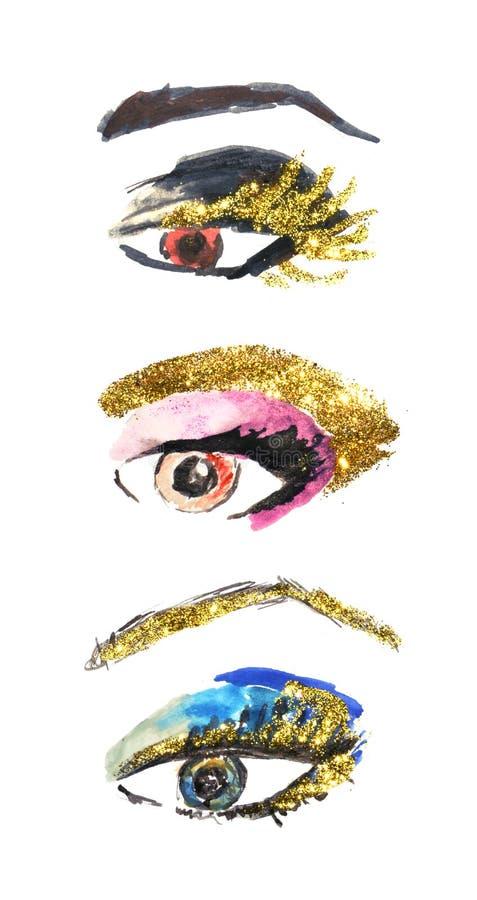 De reeks ogen van de waterverfvrouw, maakt omhoog met gouden op witte achtergrond schitteren vector illustratie