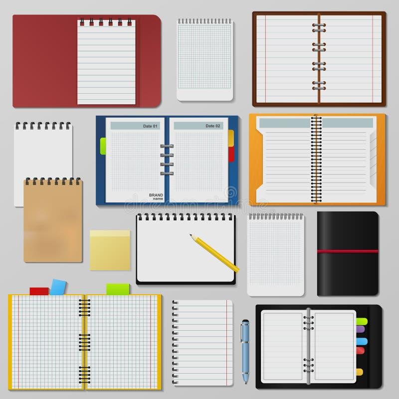 De reeks open realistische notitieboekjes maakt het malplaatjeboekje schoon van de pagina'sagenda royalty-vrije illustratie