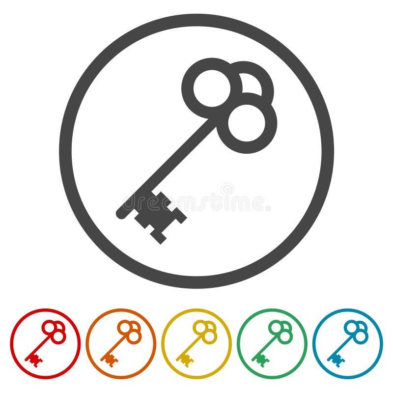 De reeks oude sleutels silhouetteert vectorillustratie stock illustratie