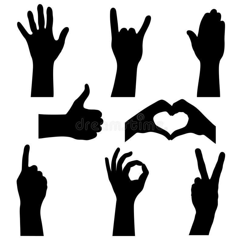 De reeks silhouetteert menselijke handen vector illustratie