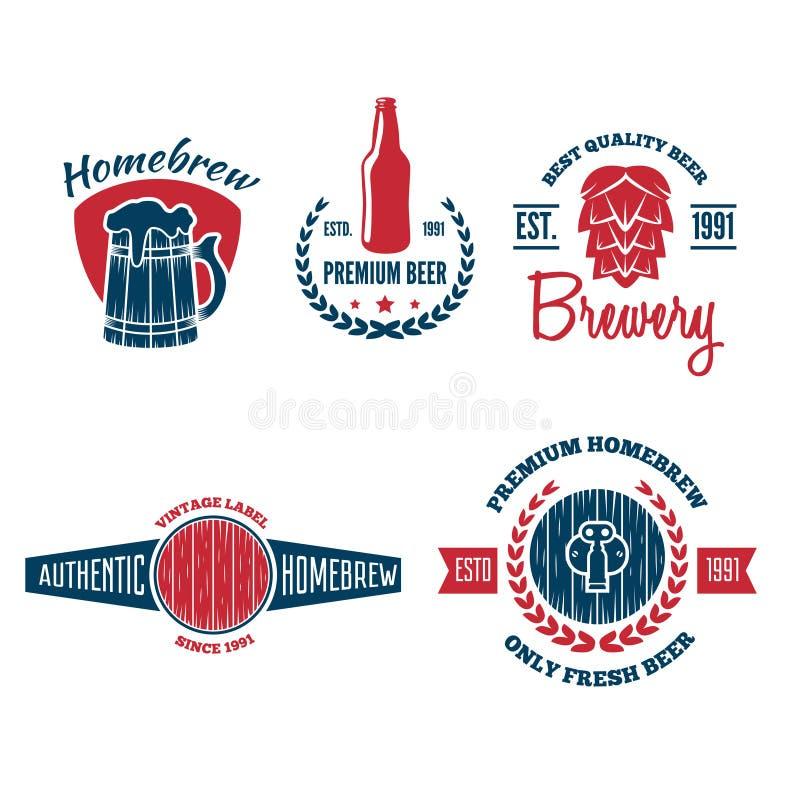 De reeks uitstekende embleem, kenteken, embleem of logotype elementen voor bier, winkel, huis brouwt, herberg, bar, koffie en res stock illustratie