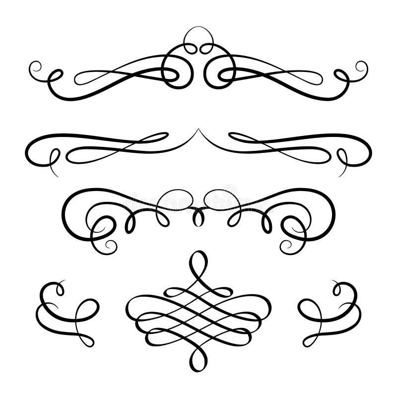 De reeks uitstekende kalligrafische vignetten en bloeit stock illustratie