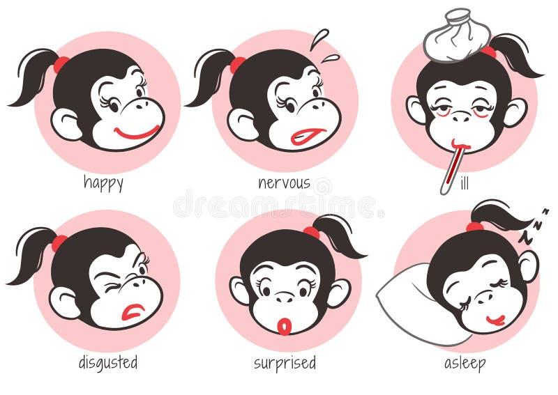 De reeks van aapemoticons vector illustratie