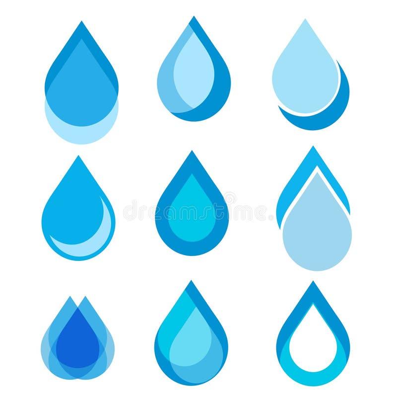 De reeks van abstracte blauwe waterdaling voor u ontwerpt, zieke voorraadvector royalty-vrije illustratie