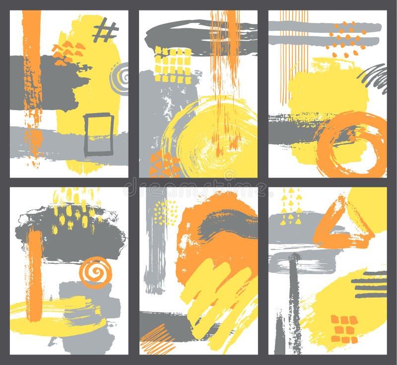 De reeks van abstracte borstel strijkt de moderne affiche van de kunststijl vector illustratie